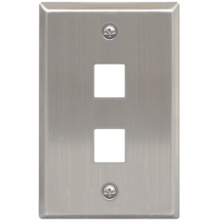 ICC IC107SF2SS 2-Port 1-Gang Stainless Steel Flat Faceplate