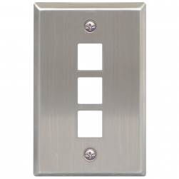 ICC IC107SF3SS 3-Port 1-Gang Stainless Steel Flat Faceplate