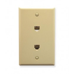 ICC IC630E66IV 2 6P6C Voice Wall Plate Ivory