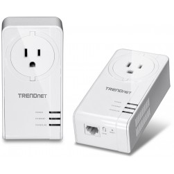 TRENDnet TPL-421E2K Powerline 1200 AV2 Adapter Kit w/ Built-in Outlet