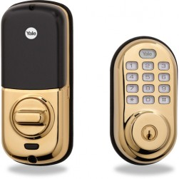 Yale YRD210NCR605 Push Button Deadbolt Standalone (Bright Brass)