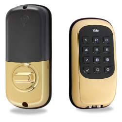 Yale YRD110ZW605 Key-Free Push-Button Z-Wave Deadbolt (Bright Brass)