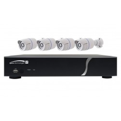 Speco ZIPT84B2 HD-TVI 8 Channel DVR, 2TB with 4 X 1080p Outdoor IR Bullet Cameras, White