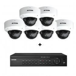 Avycon AVK-HN41V6-4T  8 Channel NVR, 2TB with 6 x 4MP H.265 Outdoor Dome Cameras