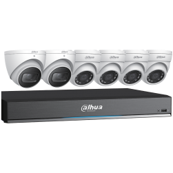 Dahua C788E63 Four 4x5 MP and Two 4K HDCVI Eyeball Cameras with One (1) 8 Channel 4K HDCVI DVR, No HDD