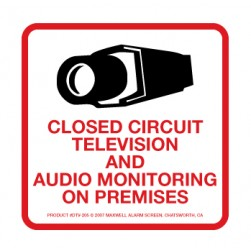 Maxwell DTV-205 CCTV and Audio Monitoring Decal