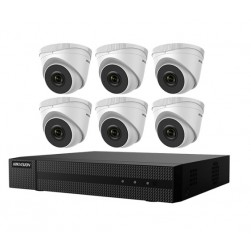 Hikvision EKI-Q82T26 Kit Includes Six 2 Megapixel Outdoor Turret Cameras, 2.8mm lens with One 8 Channel NVR with PoE, 2TB