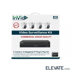 InVid ELEV-8CHTX4MPKITIP-8TB 4 Megapixel Plug & Play IP Turret Cameras with 8 Channel Network Video Recorder, 8TB