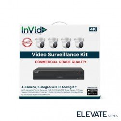 InVid ELEV-8CHTX5MPKITAN 5 Megapixel 4 Turret Cameras with 8 Channel Digital Video Recorder, No HDD