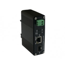 American Fibertek ET1111PpH-S-DR 100Base-TX (PoE+) to 100Base-FX SFP Ethernet Media Converter