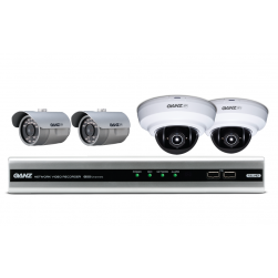Ganz NR4HL-V-KIT1-ID Kits Include 4 Channel Embedded NVR with 1TB HDD, 2 Bullet Camera & 2 Dome Camera