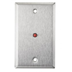 """Alarm Controls RP-28 Single Gang Stainless Steel Wall Plate with 1/4"""" Red LED"""