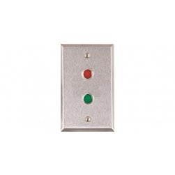 """Alarm Controls RP-09L Single Gang Stainless Steel Wall Plate with 1/2"""" Red and Green LEDs"""