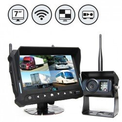 """RVS Systems RVS-4CAM-A-07 7"""" Quad View Monitor with DVR, 2 x Wireless Backup Cameras and Left Side Camera"""