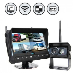 """RVS Systems RVS-4CAM-A-10 7"""" Quad View Monitor with DVR, 3 x Wireless Backup Cameras and Right Side Camera"""