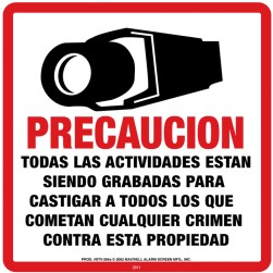 Maxwell STV-204S CCTV Warning Sign (Spanish)