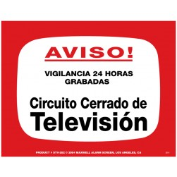 Maxwell STV-202S CCTV Notice Sign (Spanish)