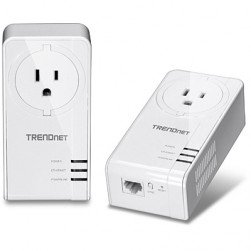 TRENDnet TPL-423E2K Powerline 1300 AV2 Adapter with Built-in Outlet