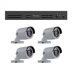 Interlogix TVR-1504-KB1 HD-TVI Analog Surveillance Bundle Contains 1 4 Channel DVR with 1TB and 4 Indoor/Outdoor 720p IR Bullet Cameras, 3.6mm Lens