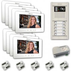 Alpha VKGB2-7-9AS 9-Unit Touchscreen Video Entry Intercom Kit