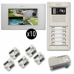 Alpha VKGB2-P7-10AF 10 Unit Video-Intercom Kits with Flush Entry Panel