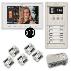 Alpha VKGB2-V7-10AF 10-Unit Soft-Touch Video Entry Intercom Kit