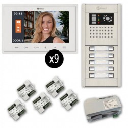 Alpha VKGB2-V7-9AF 9-Unit Video Entry Intercom Kit