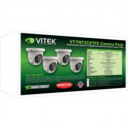 Vitek VT-TNT3CKTFE-2 IP 3MP Fixed Turret Camera 4 Pack With 2.8mm Lens
