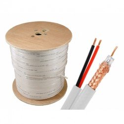 Cantek CT-W-95S1000ft-W 1000ft 36AWG 95% Siamese Cable, White