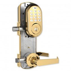 Yale YRC216ZW2NW5605 Assure Lock Interconnected Lockset with Push Button, Bright Brass