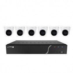 Speco ZIPK8T2 8 Channel Network Video Recorder with Built-In PoE Six 5 Megapixel IP Cameras, 2.8mm Lens