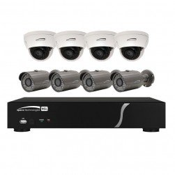 Speco ZIPL8BD2 8 Channel NVR with 2TB and IP Camera Kit with 4 each Full HD 1080p Outdoor IR Bullet and Dome Cameras