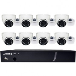 Speco ZIPX8T1 8 Channel HD-TVI DVR, 1080p, 2TB with 8 Outdoor IR Turret Cameras, 3.6mm Lens, White