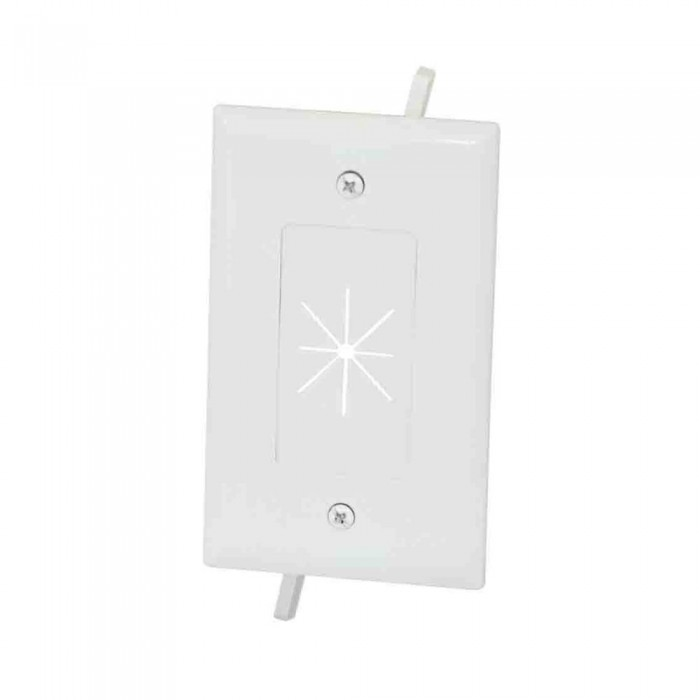 Datacomm 45-0014-WH 1-Gang Cable Plate with Flexible Opening, White
