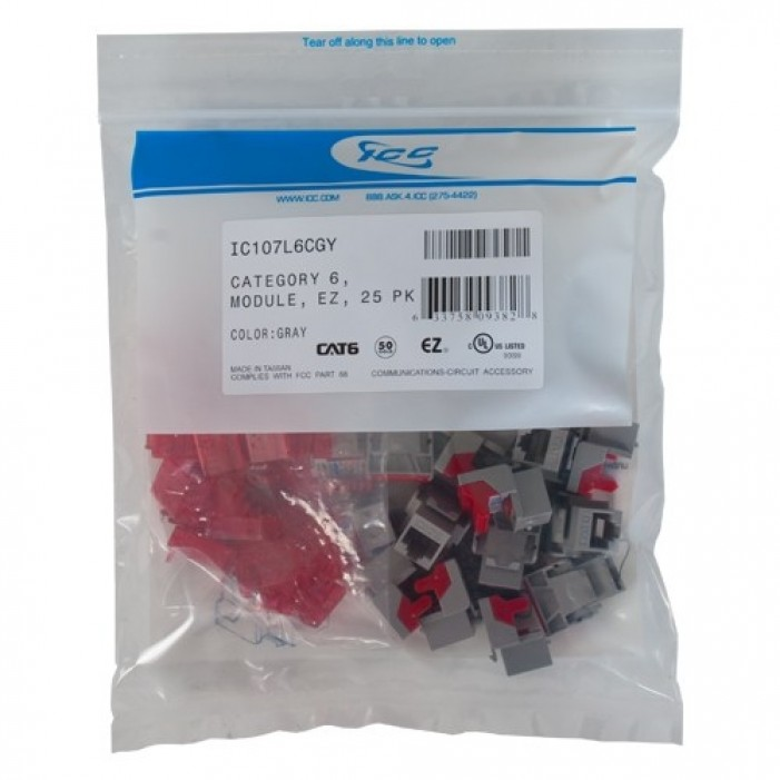 Ivory 25-Pack ICC CAT6 RJ45 Keystone Jack for HD Style